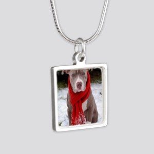 Holiday Pit Bull Silver Square Necklace