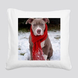 Holiday Pit Bull Square Canvas Pillow