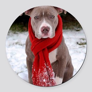 Holiday Pit Bull Round Car Magnet