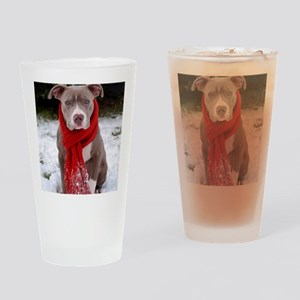 Holiday Pit Bull Drinking Glass