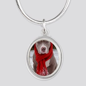 Holiday Pit Bull Silver Oval Necklace