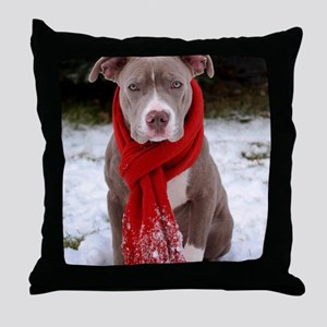 Holiday Pit Bull with Red Scarf Throw Pillow