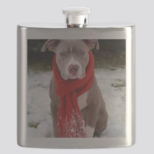 Holiday Pit Bull with Red Scarf Flask