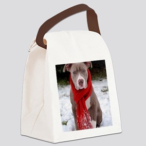 Holiday Pit Bull with Red Scarf Canvas Lunch Bag