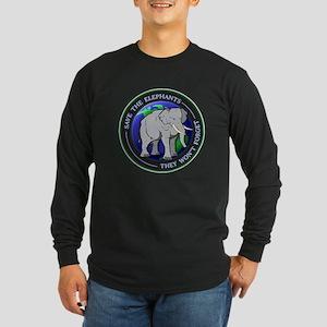 Save The Elephants Dark T-Shirts Long Sleeve T-Shi