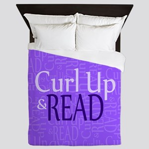 Curl Up and Read Purple Queen Duvet