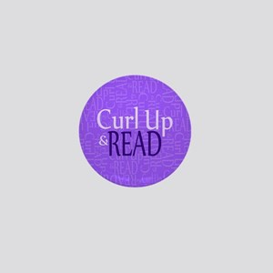 Curl Up and Read Purple Mini Button