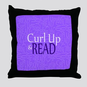 Curl Up and Read Purple Throw Pillow