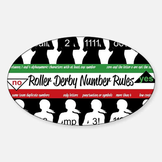 roller derby number rules Sticker (Oval)