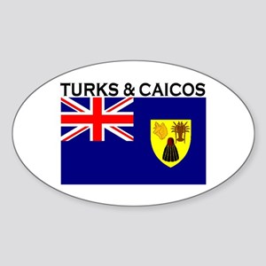 Turks & Caicos Flag Oval Sticker