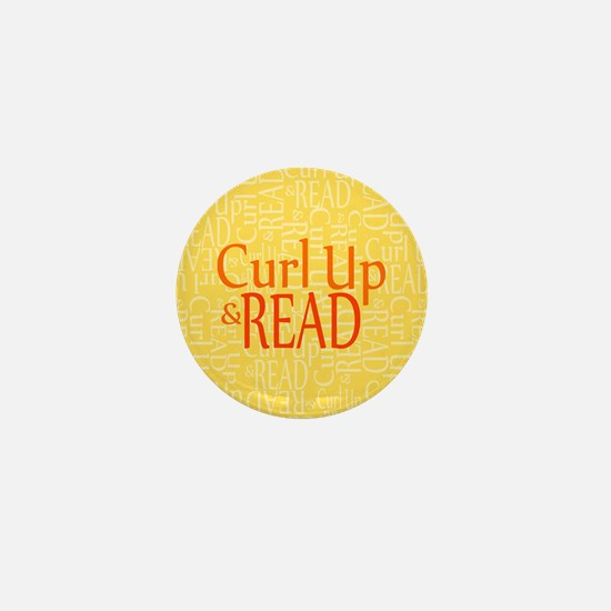 Curl Up and Read Yellow Mini Button