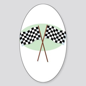 Racing Flags Oval Sticker