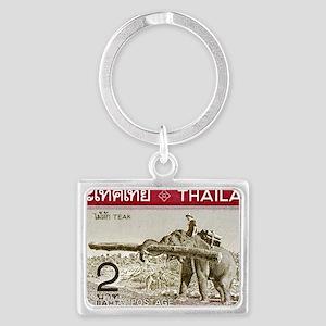 1968 Thailand Working Elephant  Landscape Keychain