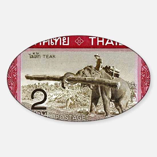 1968 Thailand Working Elephant Post Sticker (Oval)
