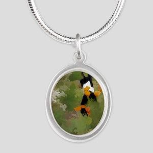 Rafiki in flowers Silver Oval Necklace