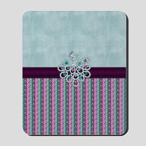 Elegant Peacock Jewel on Blue Velvet Mousepad