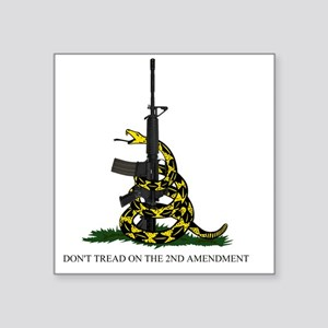 "Gadsden Flag - 2nd Amendmen Square Sticker 3"" x 3"""