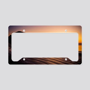 Horse Riding on beach at sunr License Plate Holder