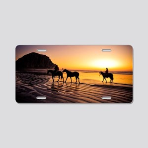 Horse Riding on beach at su Aluminum License Plate