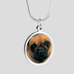 Chug Dog Dunkie Silver Round Necklace
