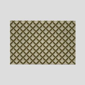 Elegant Medieval Olive Green Rectangle Magnet