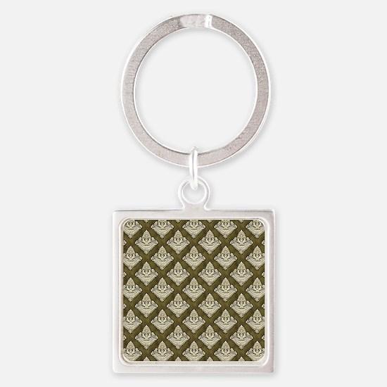 Elegant Medieval Olive Green Square Keychain
