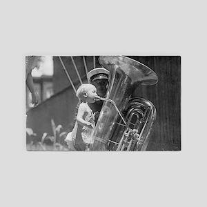 Baby Playing Tuba 3'x5' Area Rug