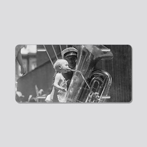 Baby Playing Tuba Aluminum License Plate