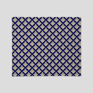 Elegant Medieval Blue and Gold Throw Blanket