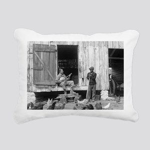 Barnyard Banjo Player Rectangular Canvas Pillow
