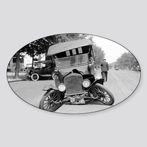 Crashed Ford Model T Sticker (Oval)