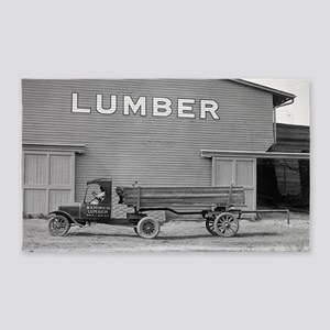 Early Ford Tractor Trailer 3'x5' Area Rug