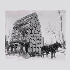 Loggers At Work Throw Blanket