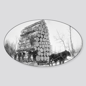 Loggers At Work Sticker (Oval)