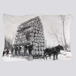 Loggers At Work Pillow Case