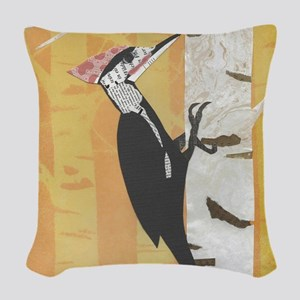 Pileated Woodpecker Woven Throw Pillow