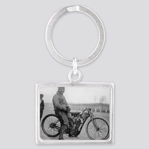 Pope Motorcycle Racer Landscape Keychain