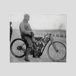 Pope Motorcycle Racer Throw Blanket