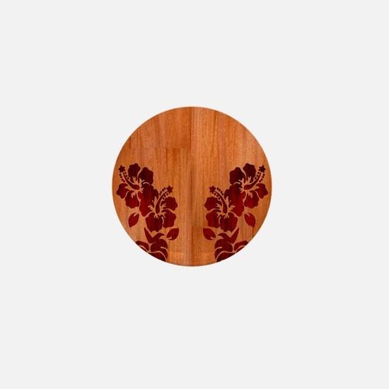 Faux Wood Hibiscus Mini Button
