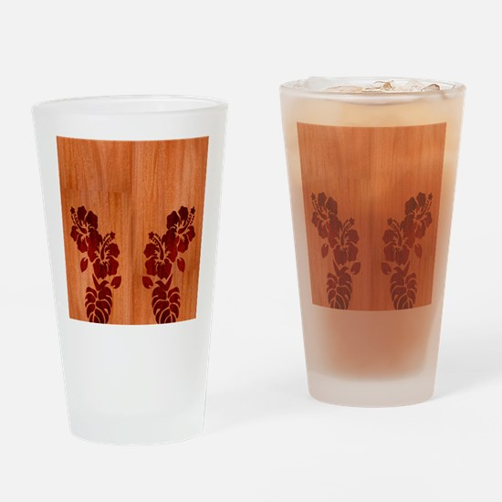 Faux Wood Hibiscus Drinking Glass