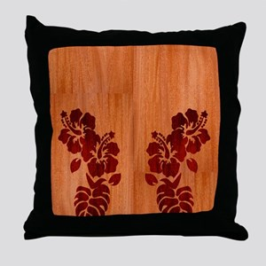 Faux Wood Hibiscus Throw Pillow