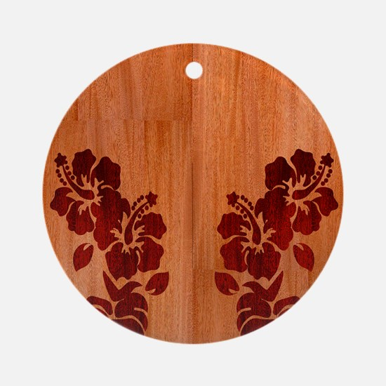 Faux Wood Hibiscus Round Ornament