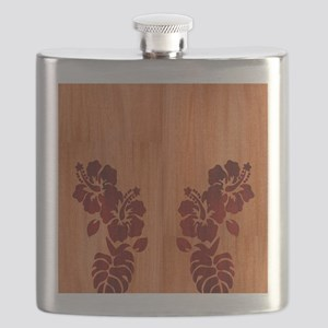 Faux Wood Hibiscus Flask
