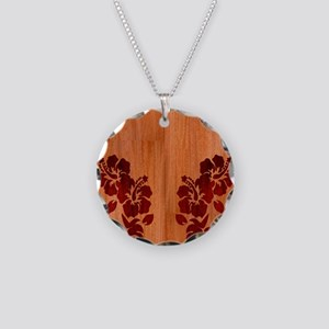 Faux Wood Hibiscus Necklace Circle Charm