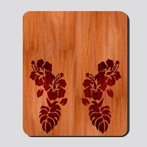 Faux Wood Hibiscus Mousepad