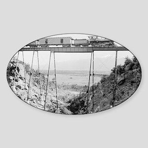 Train Crossing High Bridge Sticker (Oval)
