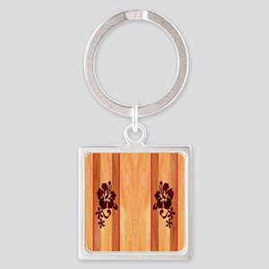 Faux Wood Surfboard Square Keychain