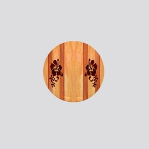Faux Wood Surfboard Mini Button