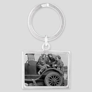 Young Lady Auto Mechanics Landscape Keychain