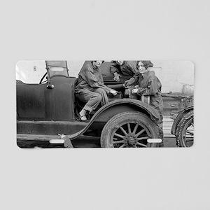 Young Lady Auto Mechanics Aluminum License Plate